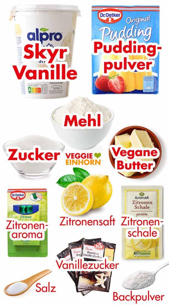 Zutaten für veganen Käsekuchen mit Alpro Skyr Style
