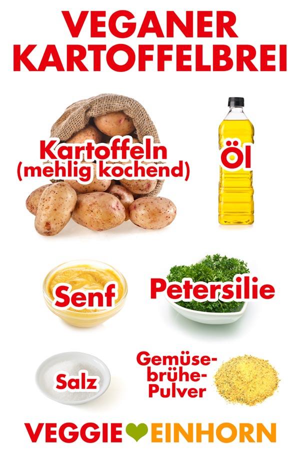 Zutaten für Veganen Kartoffelbrei: Mehlig kochende Kartoffeln, Öl, Senf