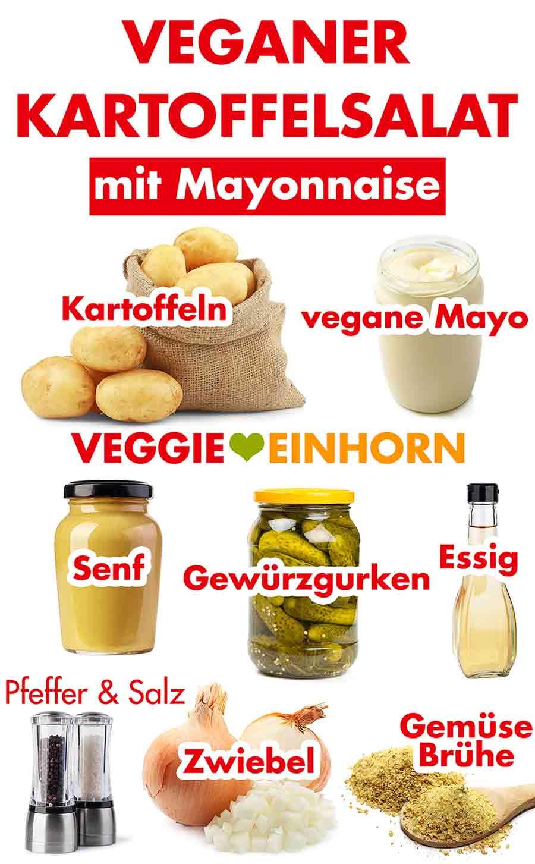 Zutaten für veganen Kartoffelsalat mit Mayonnaise