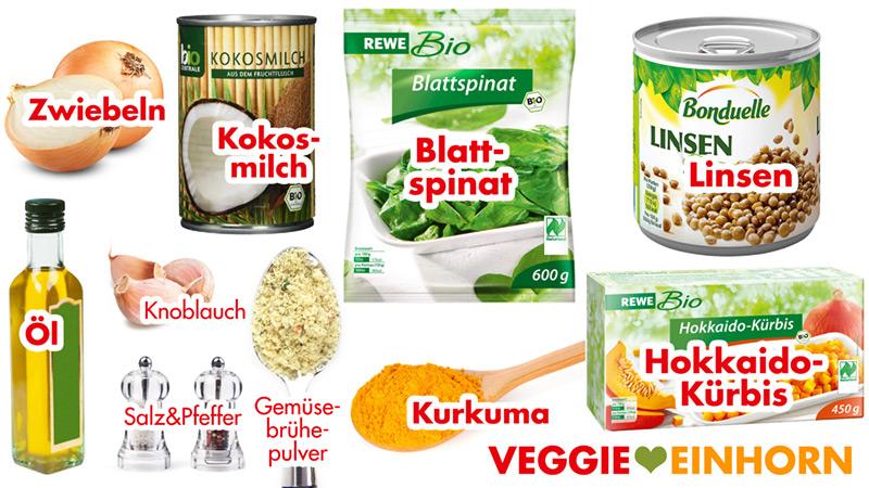 Zutaten für veganen Kürbis-Spinat-Linsen-Eintopf