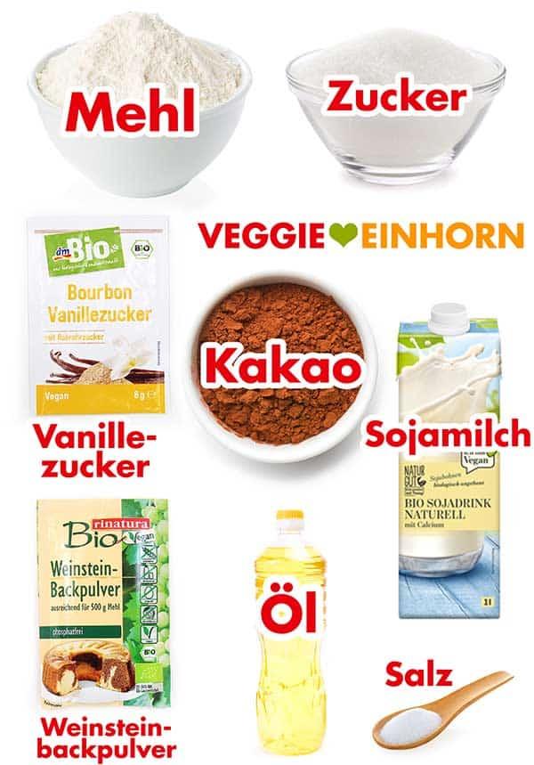 Zutaten für veganen Marmorkuchen