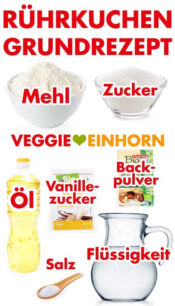 Zutaten für den veganen Rührkuchen ohne Ei