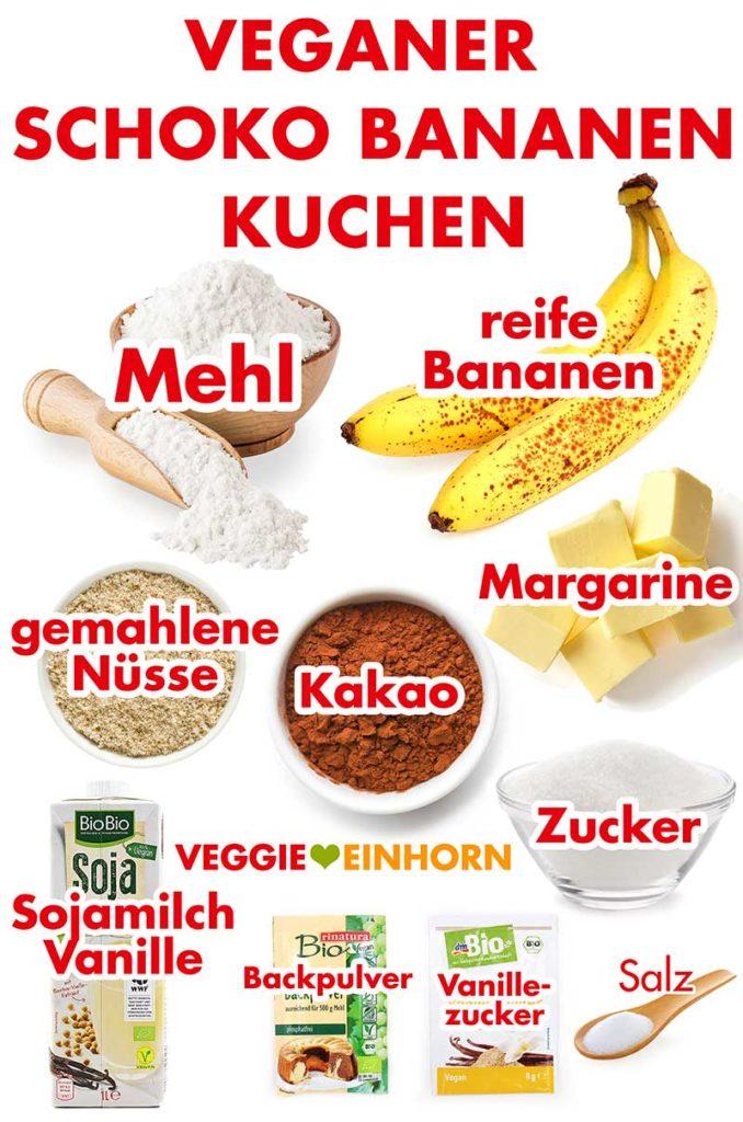 Zutaten für veganen Schoko Bananen Kuchen