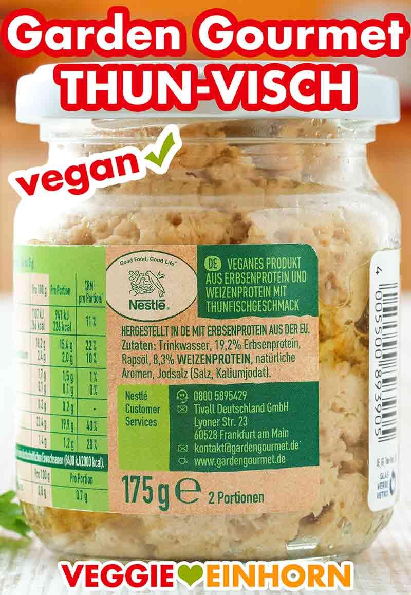 Zutatenliste auf dem Glas mit veganem Thunfisch