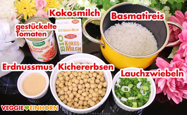 Zutaten Tomaten, Kokosmilch, Basmatireis, Erdnussmus, Kichererbsen, Lauchzwiebeln