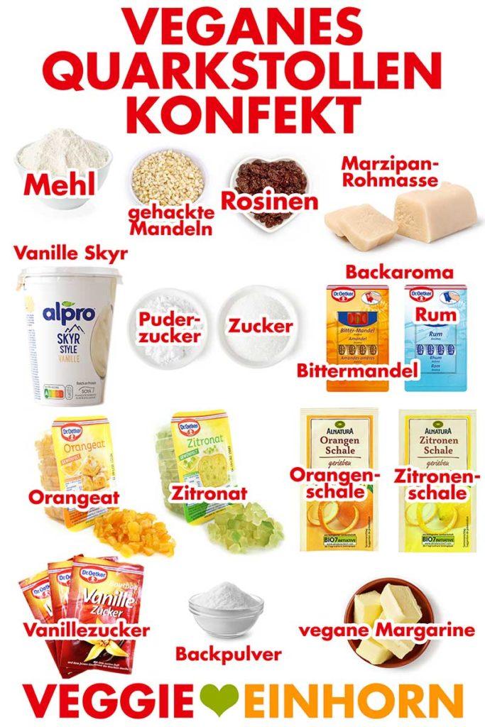 Zutaten für veganes Quarkstollenkonfekt