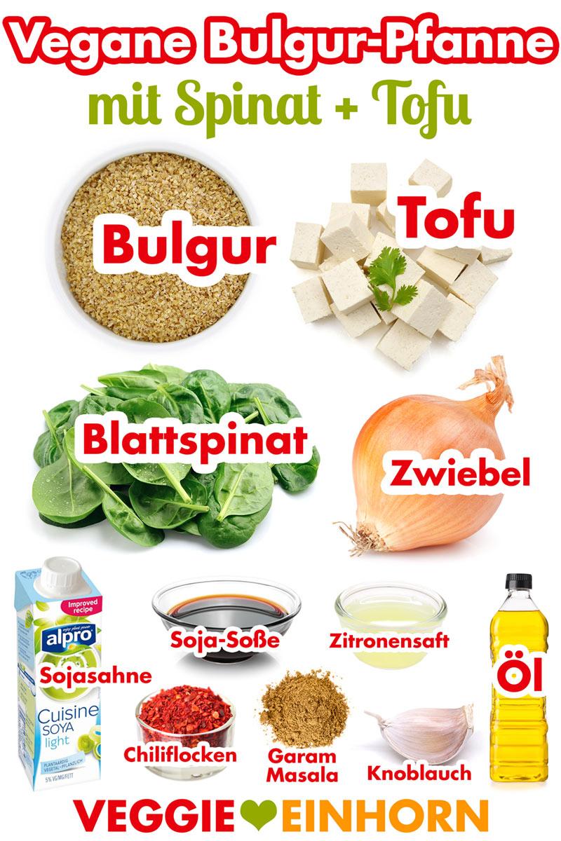 Vegan kochen: Einfaches veganes Rezept BULGUR-PFANNE mit SPINAT und TOFU | Schnell, einfach und lecker | Veganes Rezept mit Schritt-für-Schritt Foto Anleitung und VIDEO. #VeggieEinhorn
