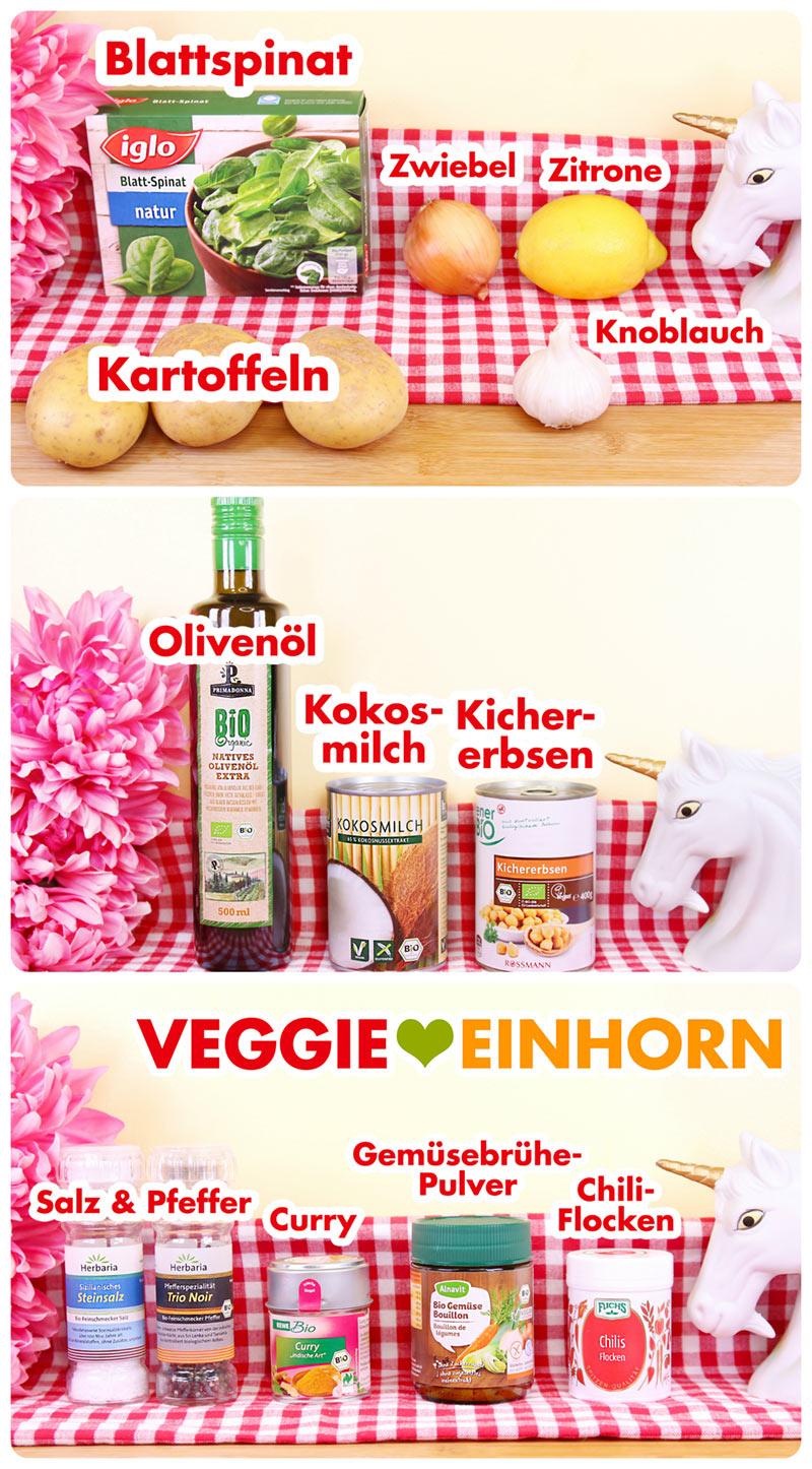 Verwendete Produkte für Spinatsuppe mit Kokosmilch
