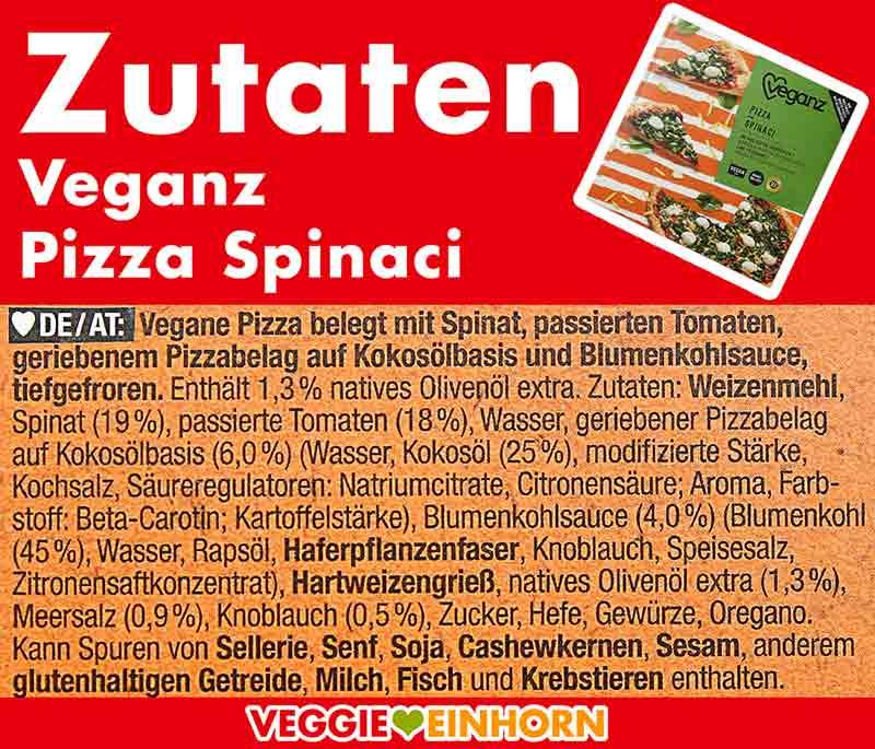 Zutaten der Pizza Spinaci von Veganz
