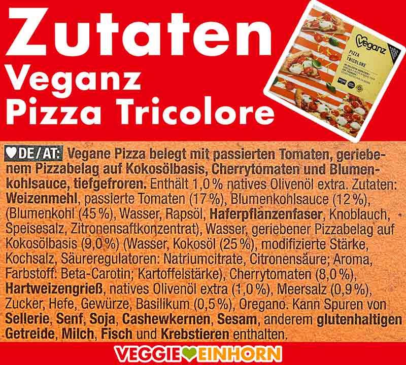 Inhaltsstoffe der Pizza Tricolore von Veganz