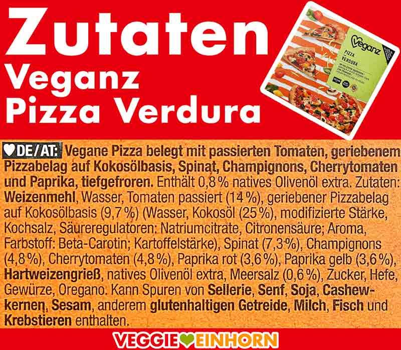 Zutaten der Veganz Pizza Verdura
