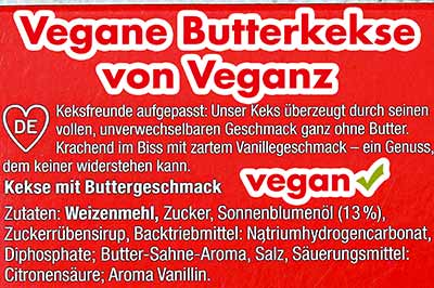 Zutaten Veganz Butterkekse