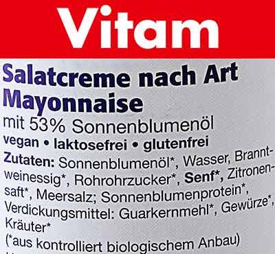 Zutaten von Vitam veganer Salatcreme nach Art Mayonnaise