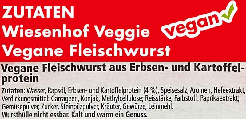 Zutaten der veganen Fleischwurst von Wiesenhof Veggie