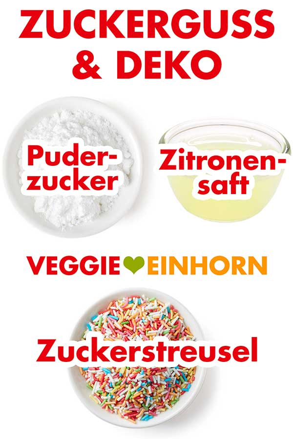 Puderzucker, Zitronensaft, Zuckerstreusel