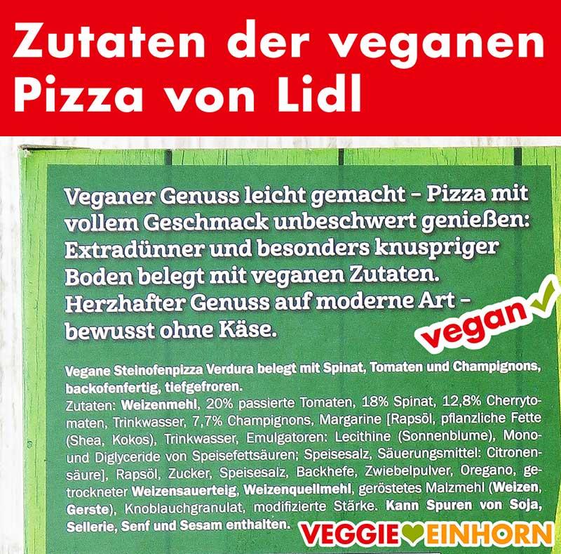 Zutaten der veganen Pizza von Lidl
