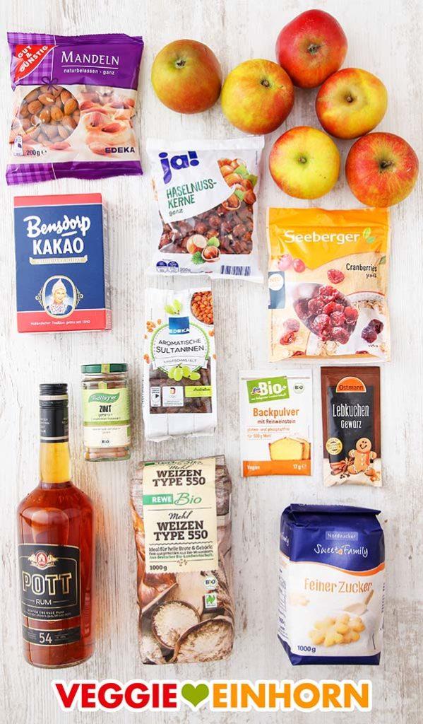 Zutaten für Apfelbrot