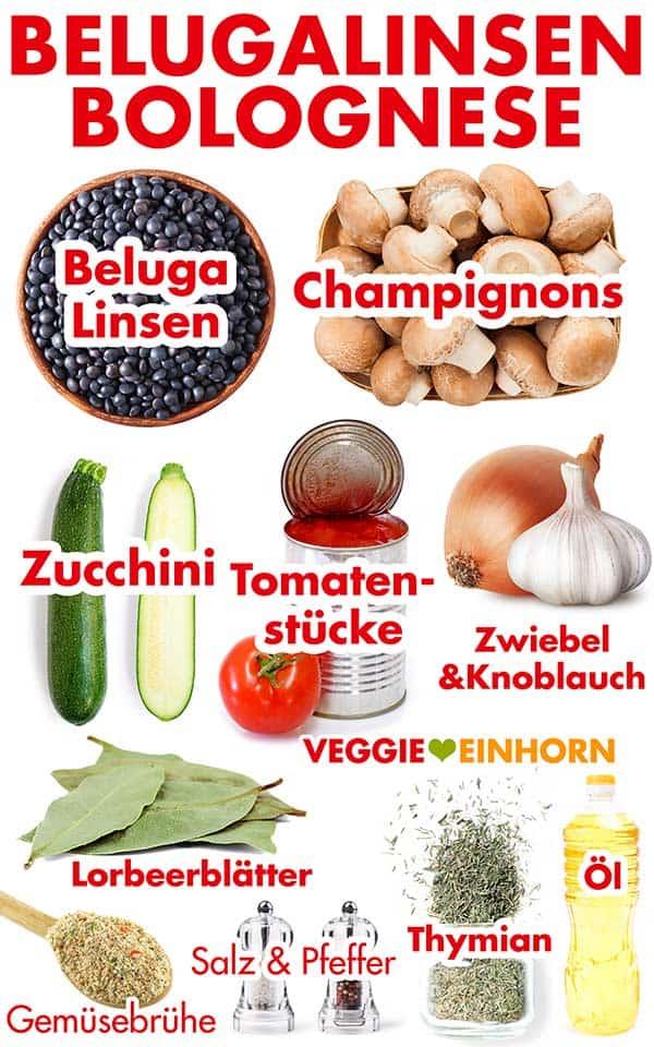 Zutaten für Beluga Linsen Bolognese