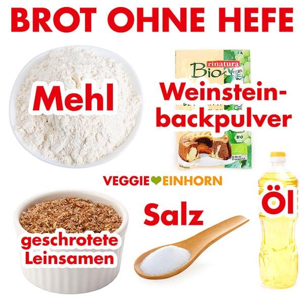 Zutaten für Brot ohne Hefe