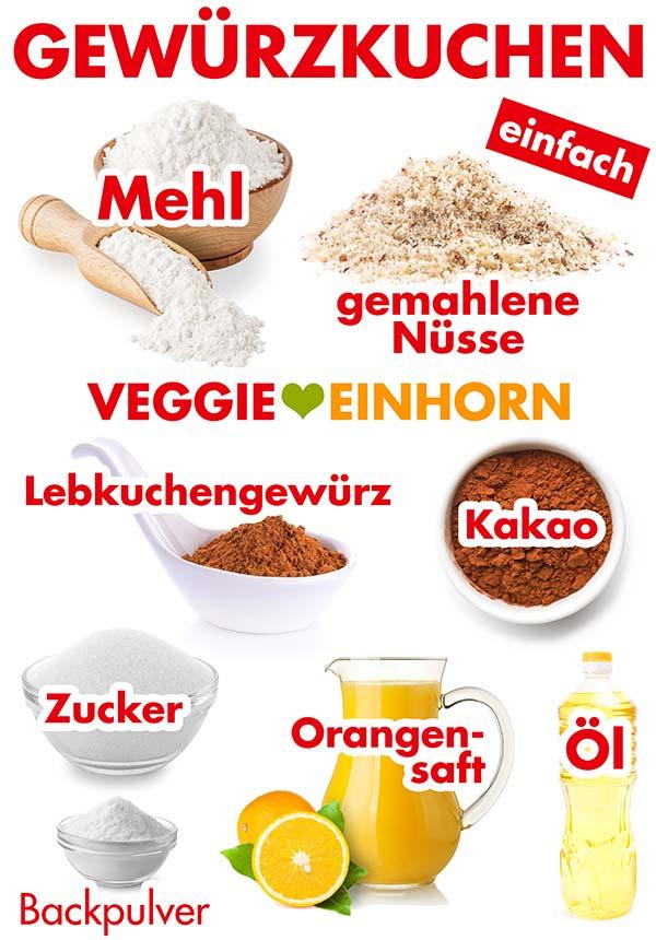 Zutaten für veganen Gewürzkuchen
