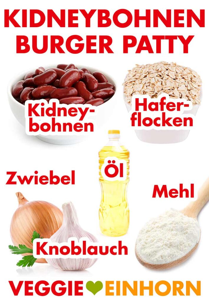 Zutaten für die Kidneybohnen Burger Patties