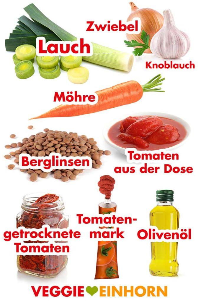 Zutaten für vegane Linsen Bolognese mit Lauch und getrockneten Tomaten