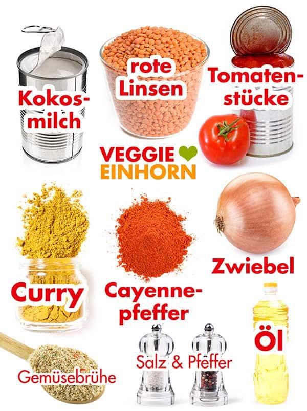 Zutaten für Rote Linsensuppe mit Kokosmilch