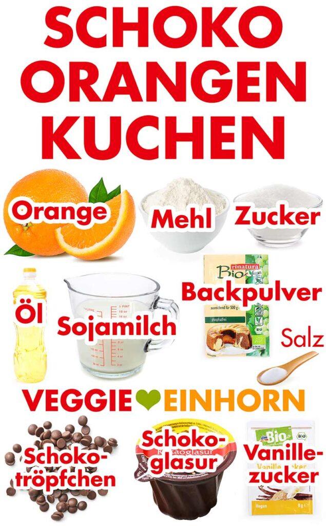 Zutaten für Schoko Orangen Kuchen