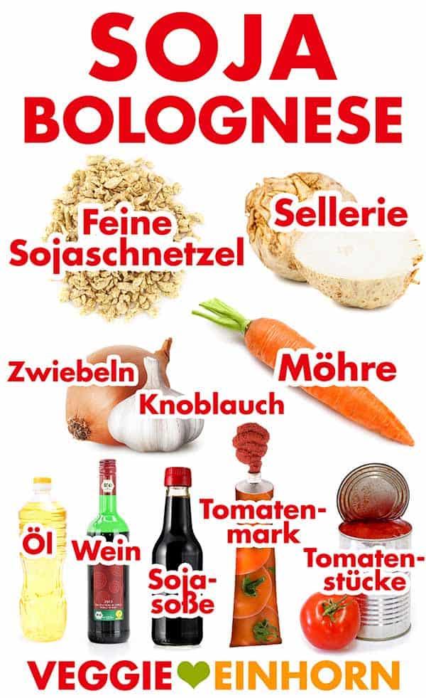 Zutaten für Soja Bolognese mit Sojaschnetzeln