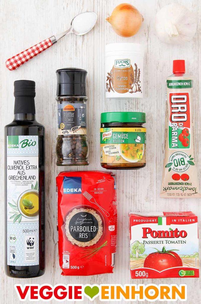 Zutaten für Tomatenreis