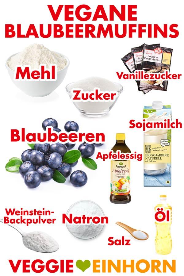 Zutaten für vegane Blaubeer Muffins