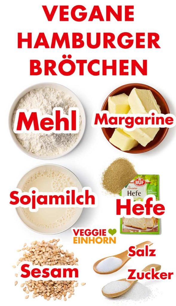 Zutaten für vegane Hamburger Brötchen