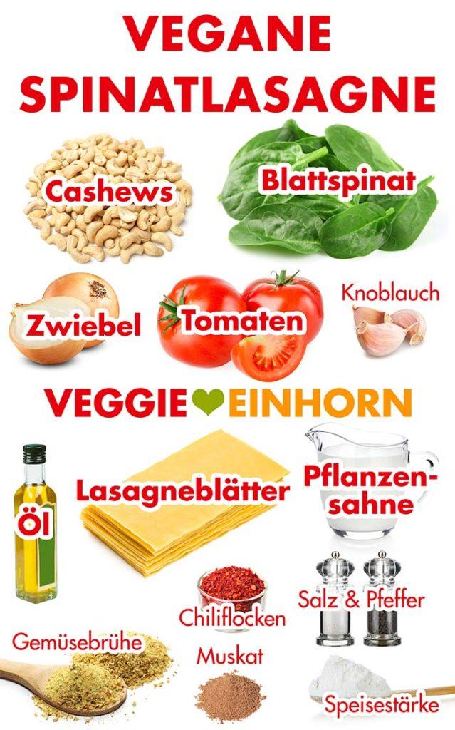 Zutaten für vegane Spinatlasagne mit Tomaten und Cashews