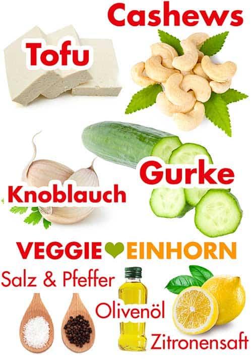 Zutaten für veganes Tzatziki aus Tofu und Cashews