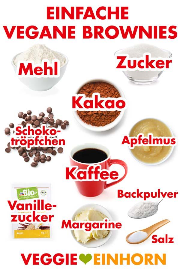 Zutaten für einfache vegane Brownies