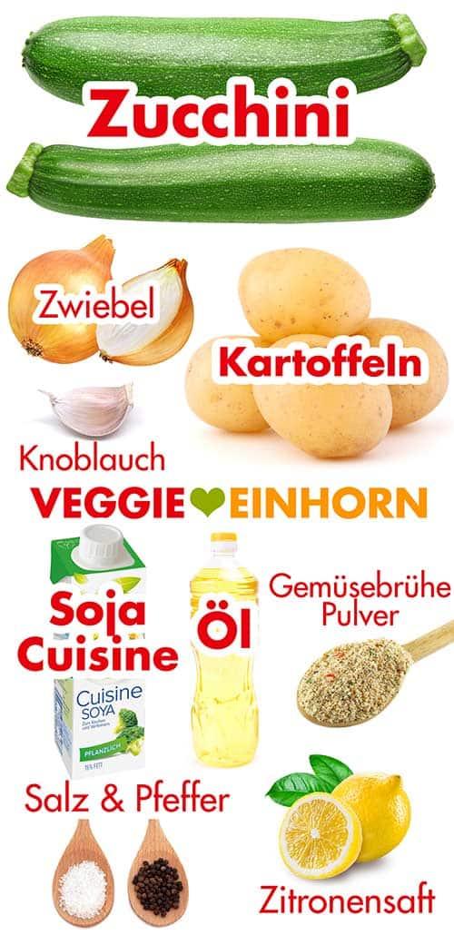 Zutaten für die einfache vegane Zucchinisuppe mit Kartoffeln