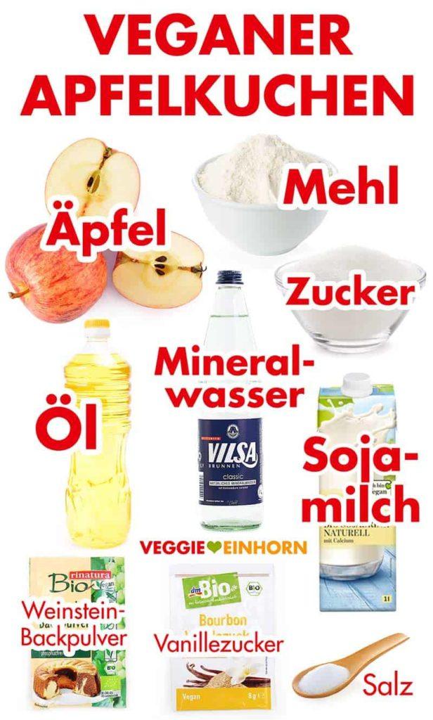 Zutaten für einfachen veganen Apfelkuchen mit Rührteig