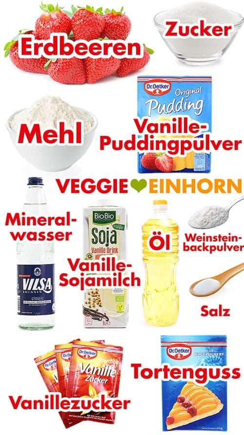 Zutaten für einfachen veganen Erdbeerkuchen mit Vanillepudding