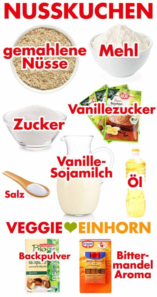 Zutaten für Nusskuchen