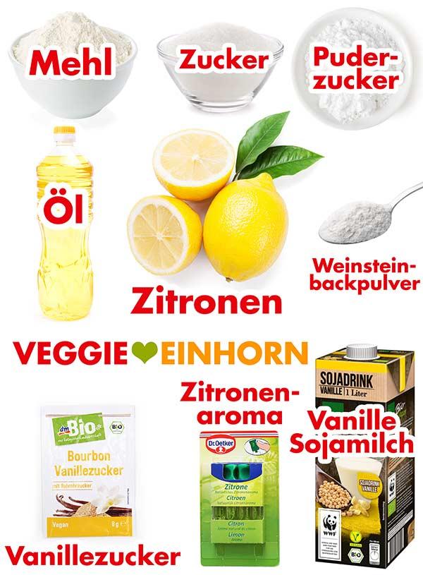 Zutaten für saftigen veganen Zitronenkuchen