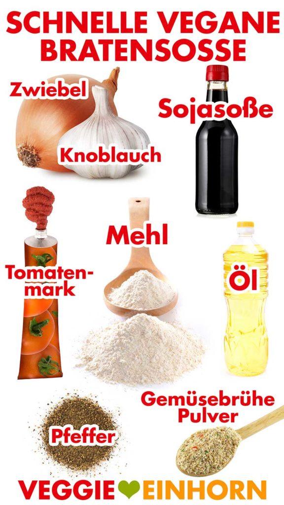 Zutaten für schnelle vegane Bratensoße