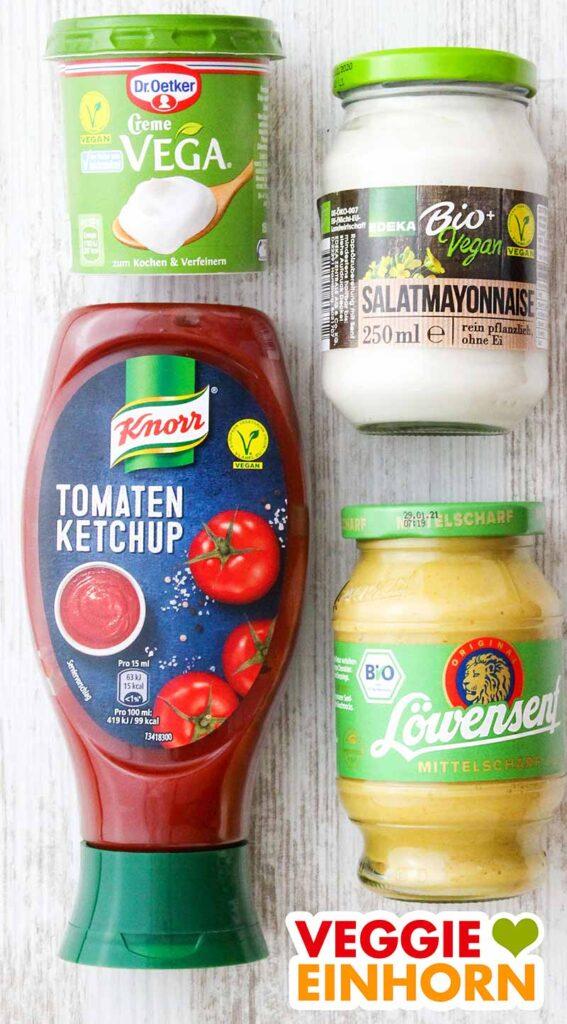 Vegane Crème fraîche, vegane Mayonnaise, veganer Ketchup und veganer Senf