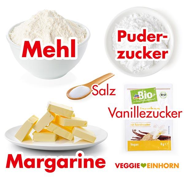 Zutaten für vegane Butterplätzchen