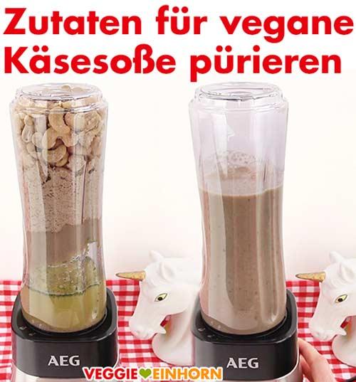 Zutaten für die vegane Cashew-Käsesoße pürieren