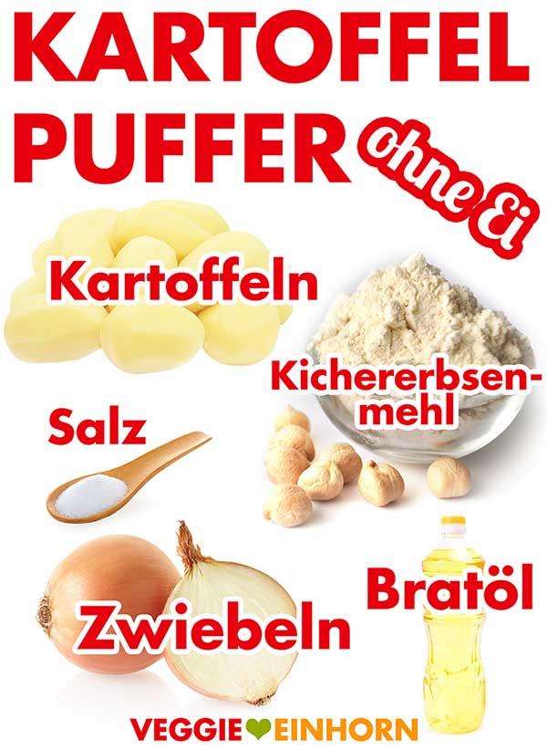 Zutaten für vegane Kartoffelpuffer ohne Ei