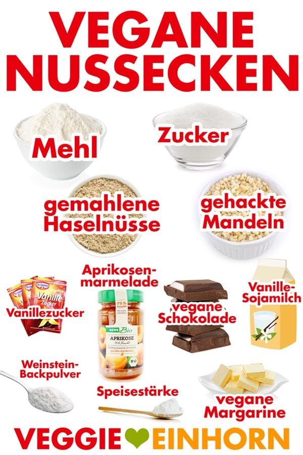 Zutaten für vegane Nussecken