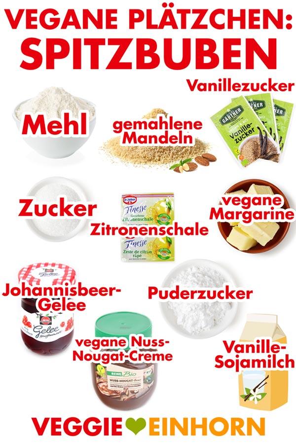Zutaten für vegane Spitzbuben-Plätzchen