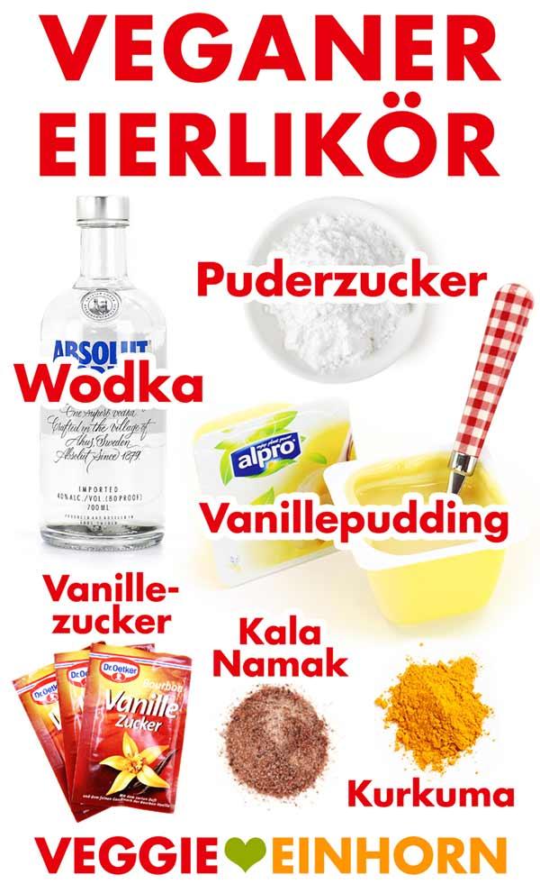 Zutaten für veganen Eierlikör mit Alpro und Wodka