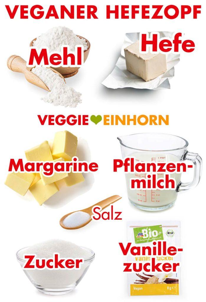 Mehl, Hefe, Margarine, Pflanzenmilch, Salz, Zucker, Vanillezucker