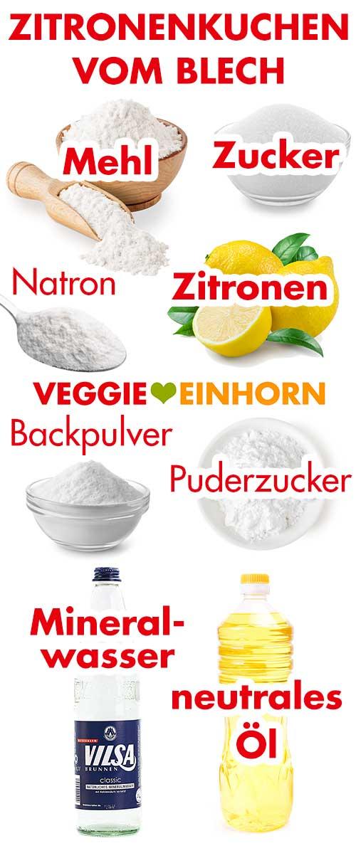 Zutaten für veganen Zitronenblechkuchen